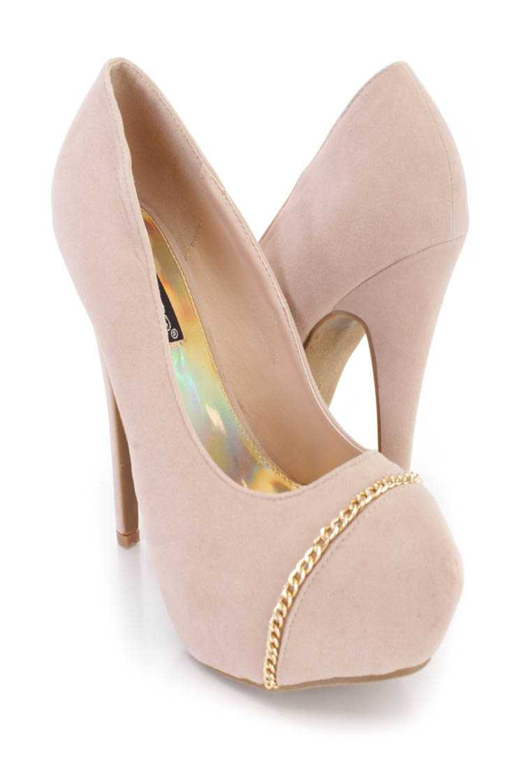 Nude Chain Detail Platform Pump High Heels Faux Suede