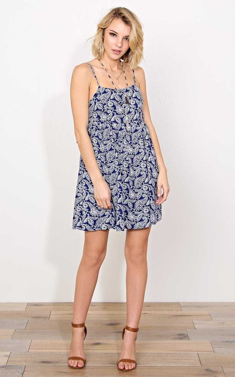 Oceanside Woven Sun Dress - - Blue Combo in Size by Styles For Less