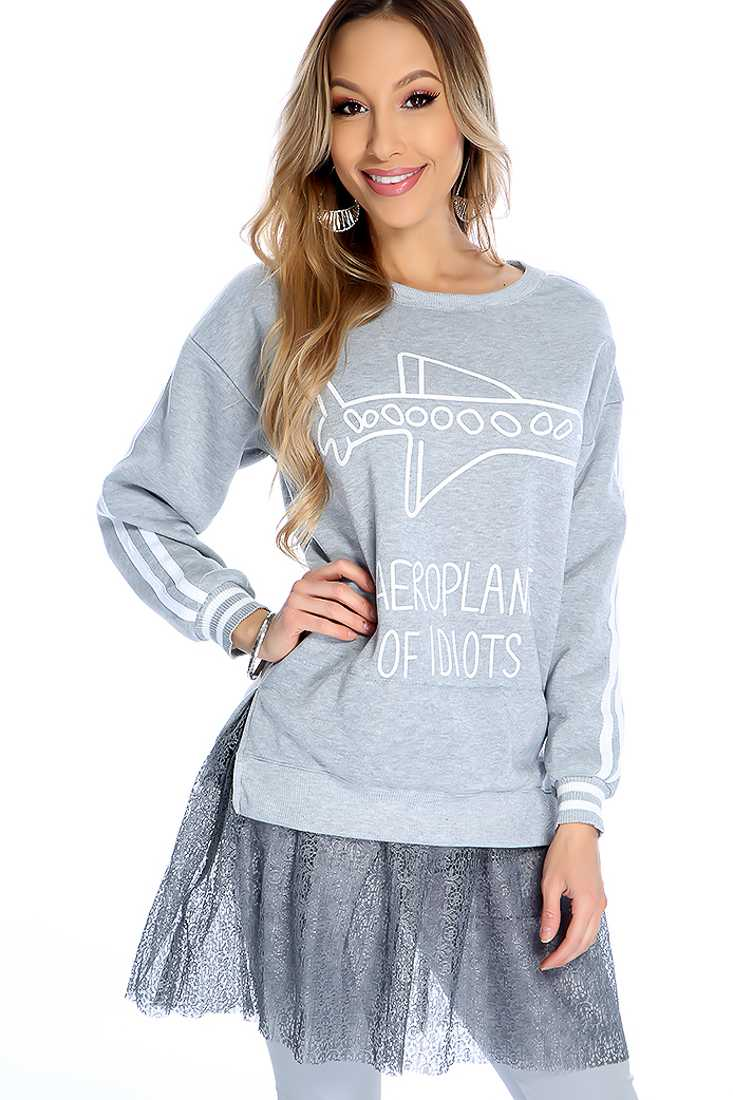 Warm Grey Long Sleeve Netted Detail Sweater