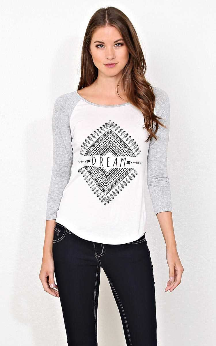 Diamond DREAM Knit Raglan - - H Grey Combo in Size by Styles For Less