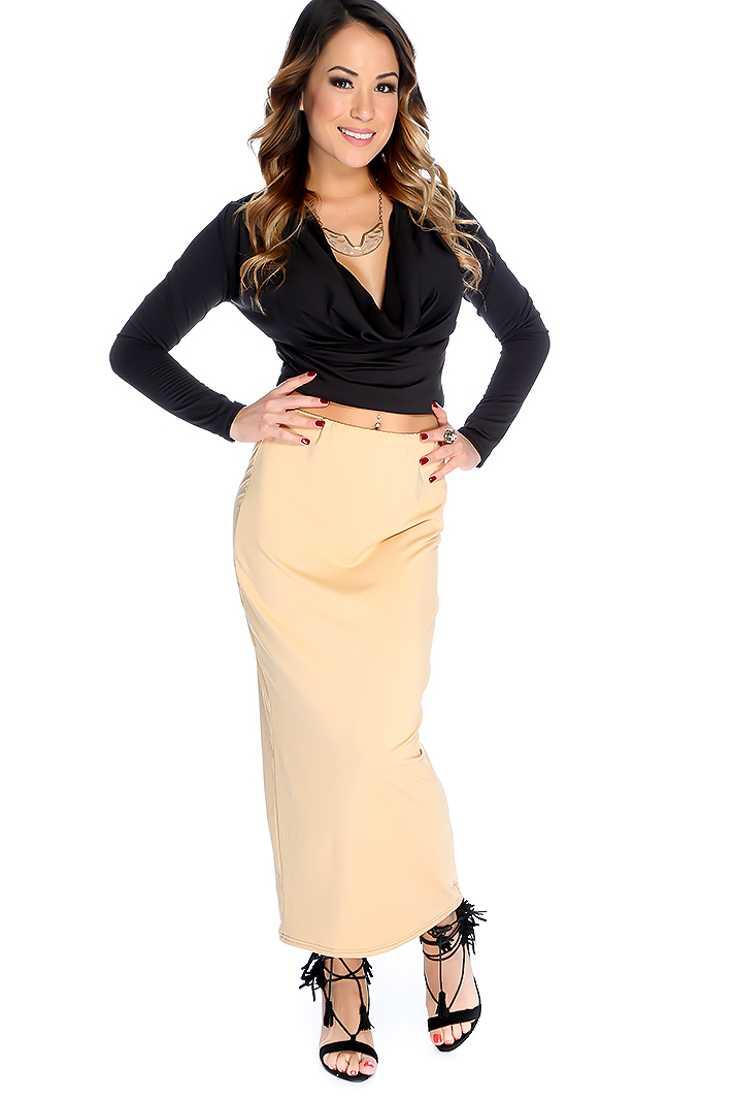 Sexy Black Beige Long Sleeve Cowl Neck 2 Piece Maxi Dress