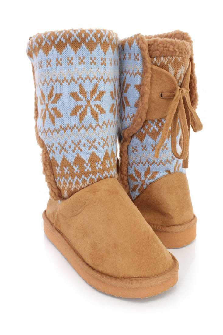 Camel Fair Isle Knitted Casual Boots Faux Suede