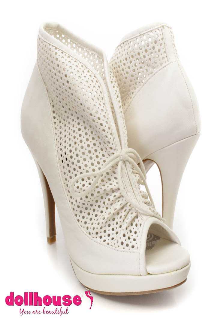 White Perforated Ankle Booties Faux Leather