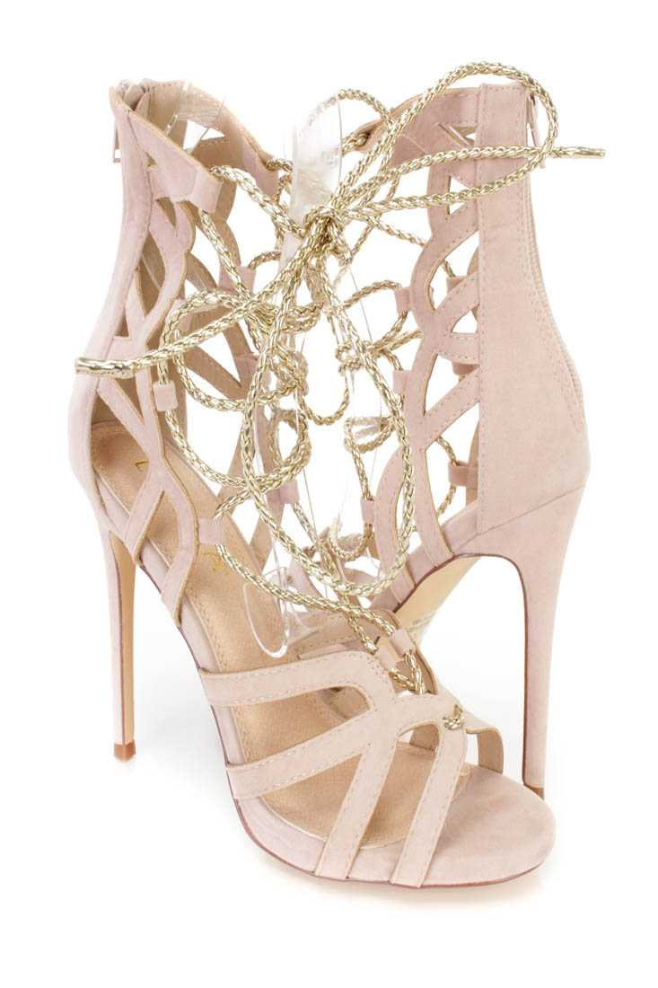 Nude Metallic Lace Up Single Sole High Heels Faux Suede