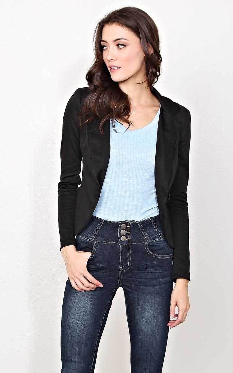 Pencil Me In Woven Blazer - MED - Black in Size Medium by Styles For Less