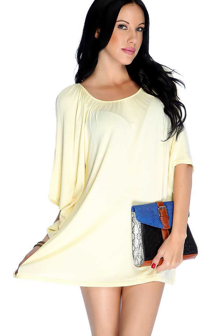 Baby Yellow Off Shoulders Flare Quarter Sleeve Casual Dress