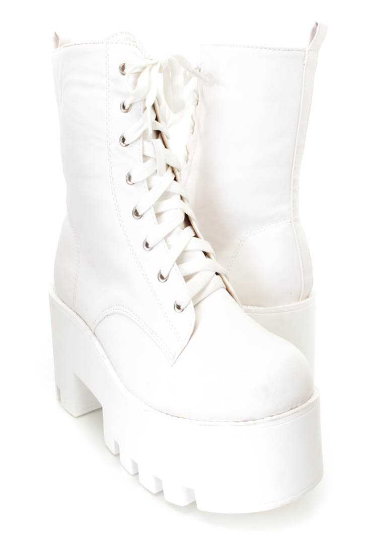 White Lace Up Chunky Heel Booties Faux Leather