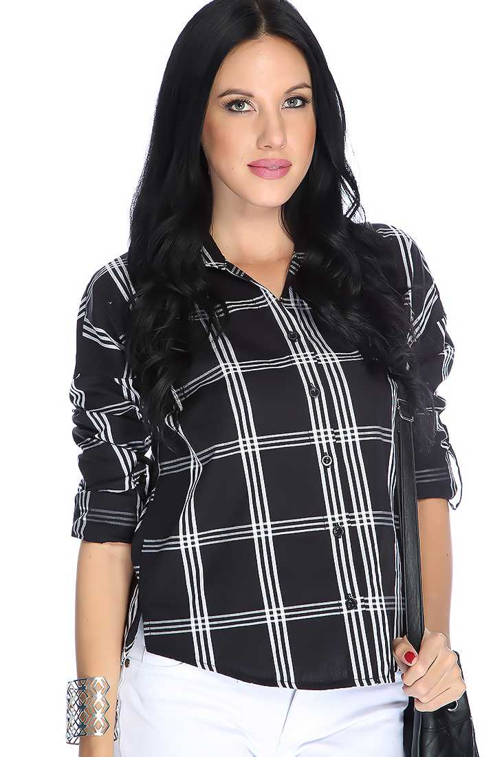 Black Plaid Button Up Gathered Sleeves Casual Top