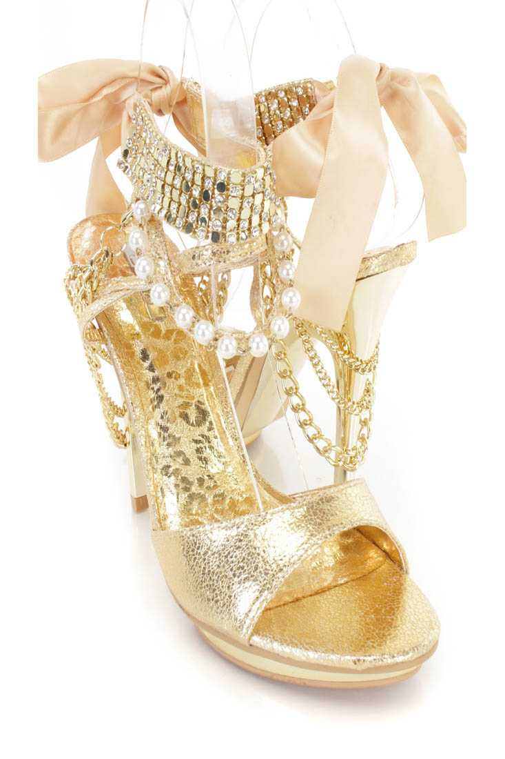 Gold Rhinestone Metal Mesh Strappy Heels Faux Leather