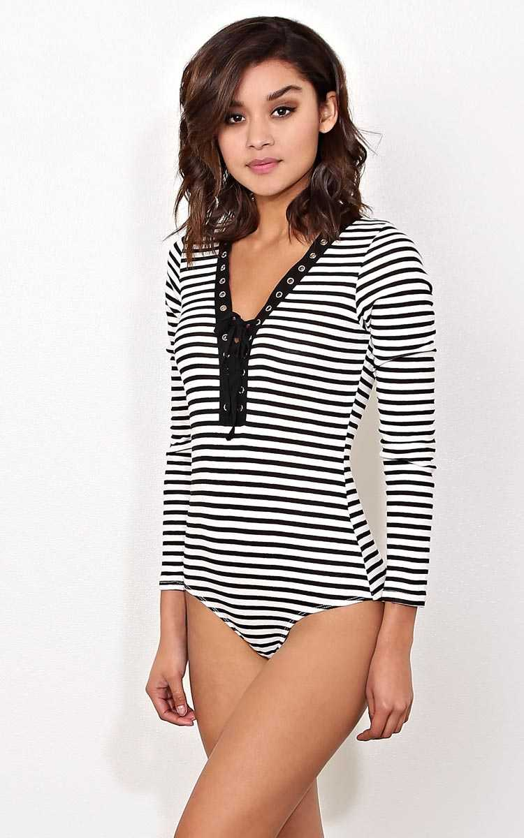 Venice Party Lace Up Striped Bodysuit - - Black Combo in Size by Styles For Less