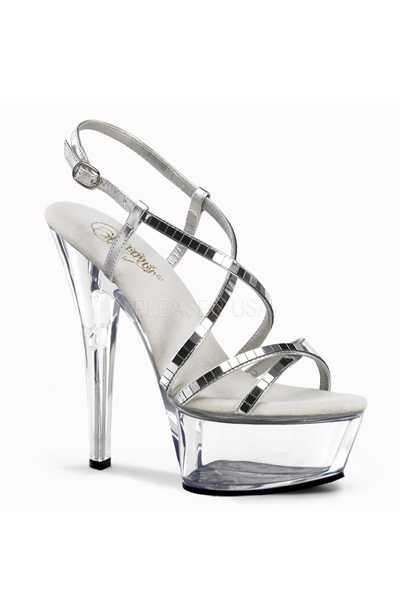 Clear Silver Mirrored Strappy Platform High Heels