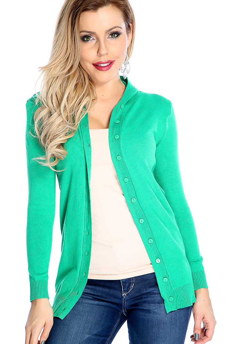 Green Button Up Long Sleeve Hooded Cardigan