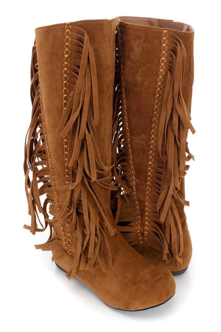 Cognac Fringe Stitched Mid Calf Boots Faux Suede