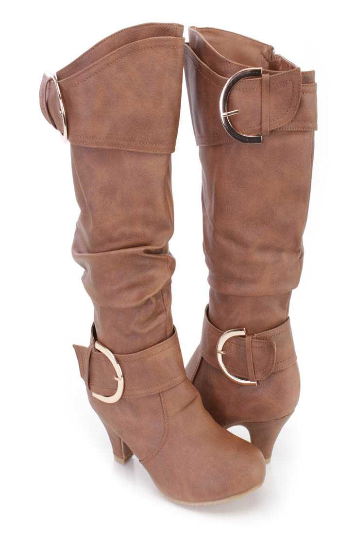 Tan Slouchy Strappy Heel Boots Faux Leather