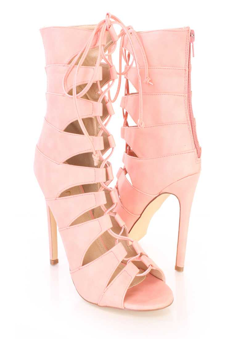 Coral Strappy Peep Toe Sandal Booties Faux Leather