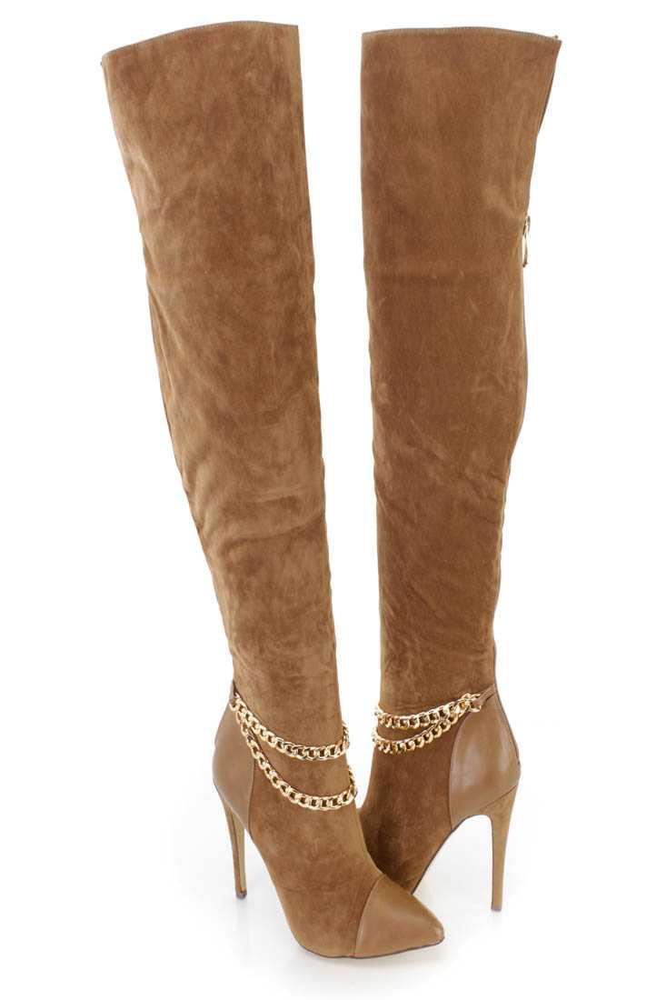 Camel Chain Strap Thigh High Heel Boots Velvet