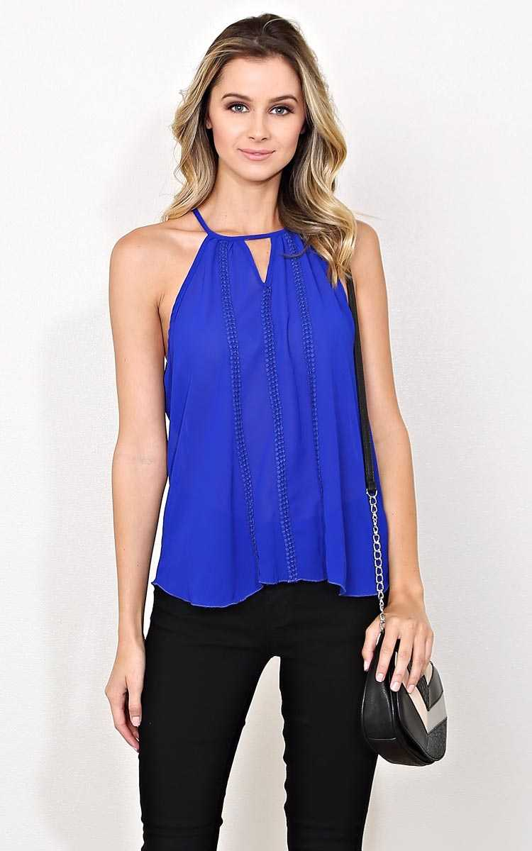 Lace Accent High Neck Top - Cobalt in Size by Styles For Less