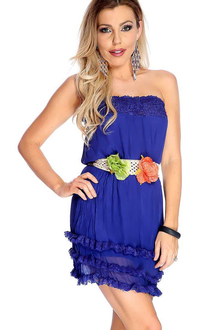 Sexy Navy Strapless Lace Trim Belted Strapless Dress