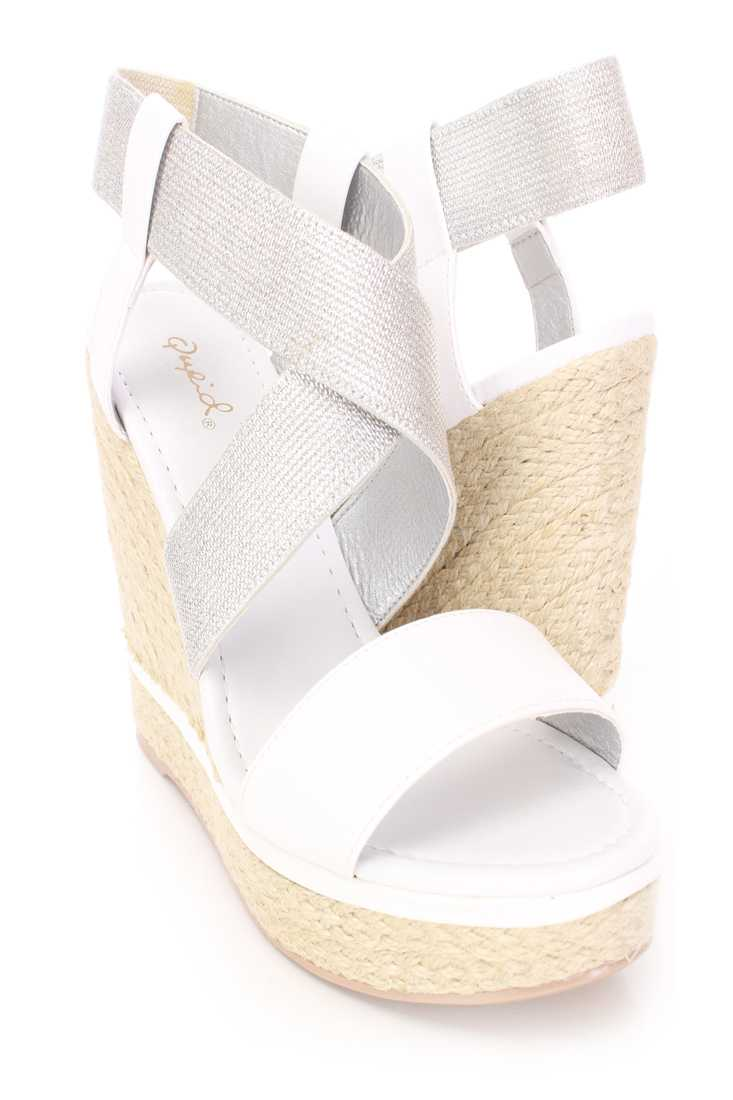 White Cross Strappy Espadrille Wedges Faux Leather