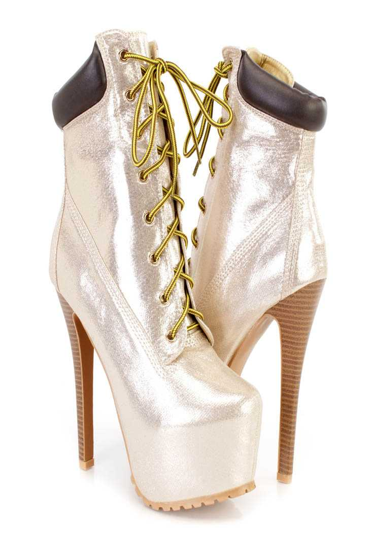 Gold Lace Up Platform High Heel Booties Shimmer Fabric