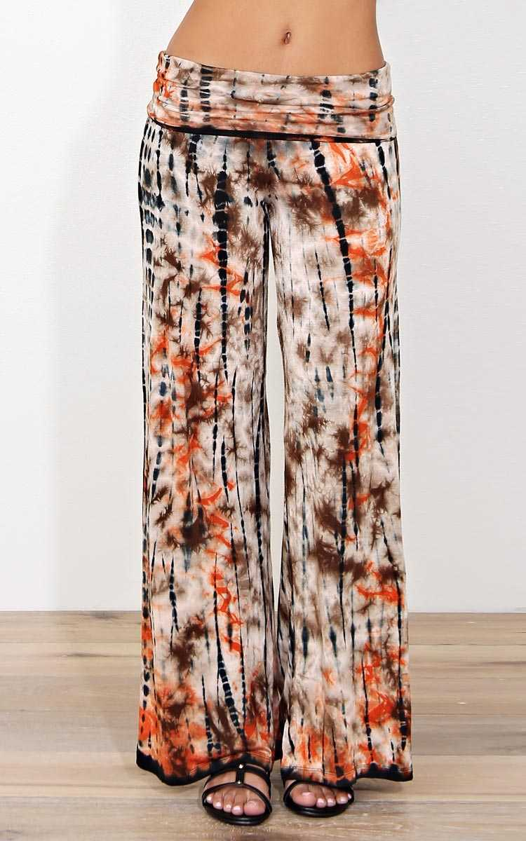 Groovy Feel Knit Palazzo Pants - - Rust Combo in Size by Styles For Less