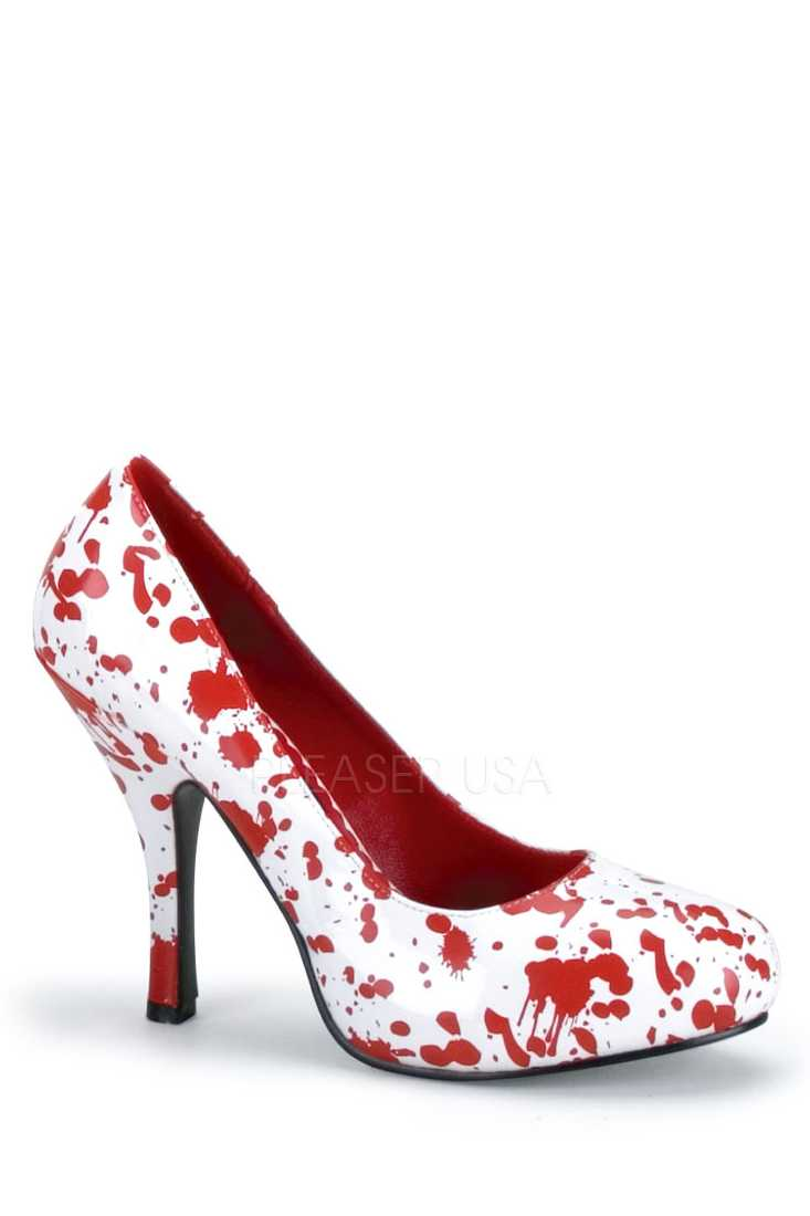 White Red Blood Splattered Zombie Pump High Heels Patent