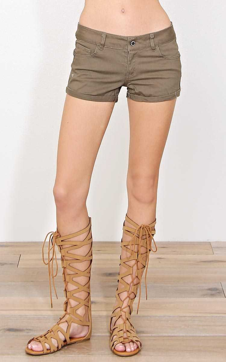 Shay Olive Denim Shorts - Mocha in Size by Styles For Less