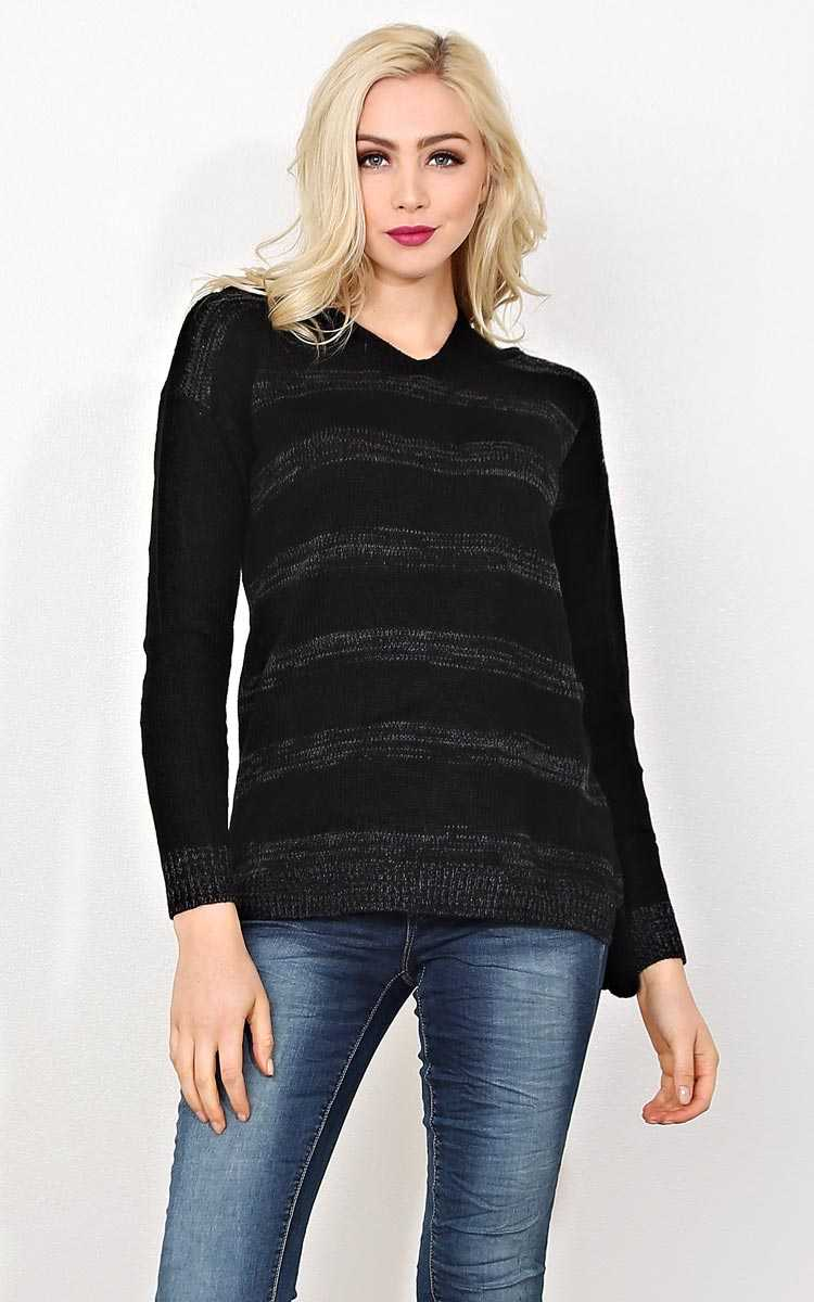 Chilly Times Striped Sweater - SML - Black Combo in Size Small by Styles For Less