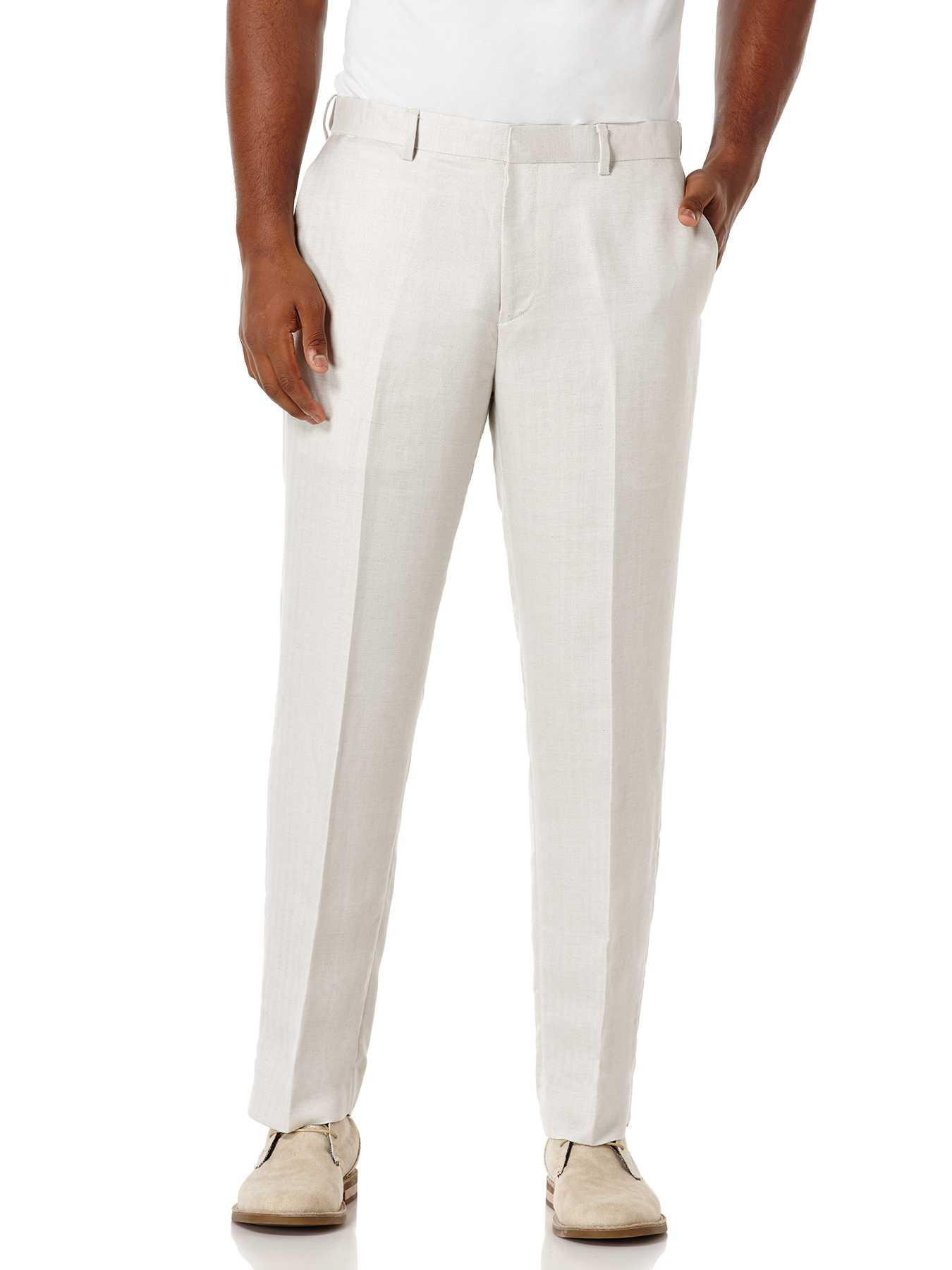 Cubavera Linen Flat Front Herringbone Pant With Motion Waistband