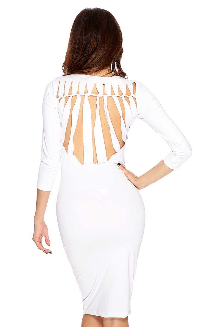 White Woven Razor Cut Sexy Party Dress