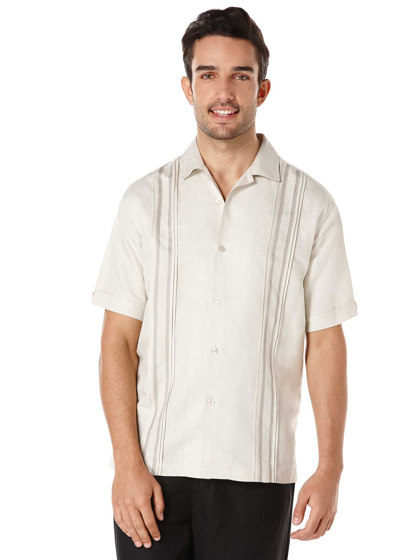 Cubavera Linen Short Sleeve Front Tuck Panel