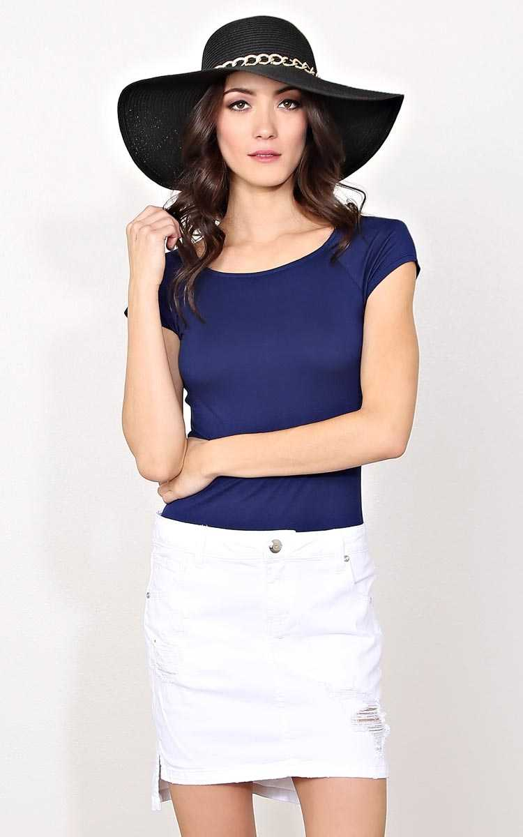 Navy Boat Neck Knit Top - - Navy in Size by Styles For Less