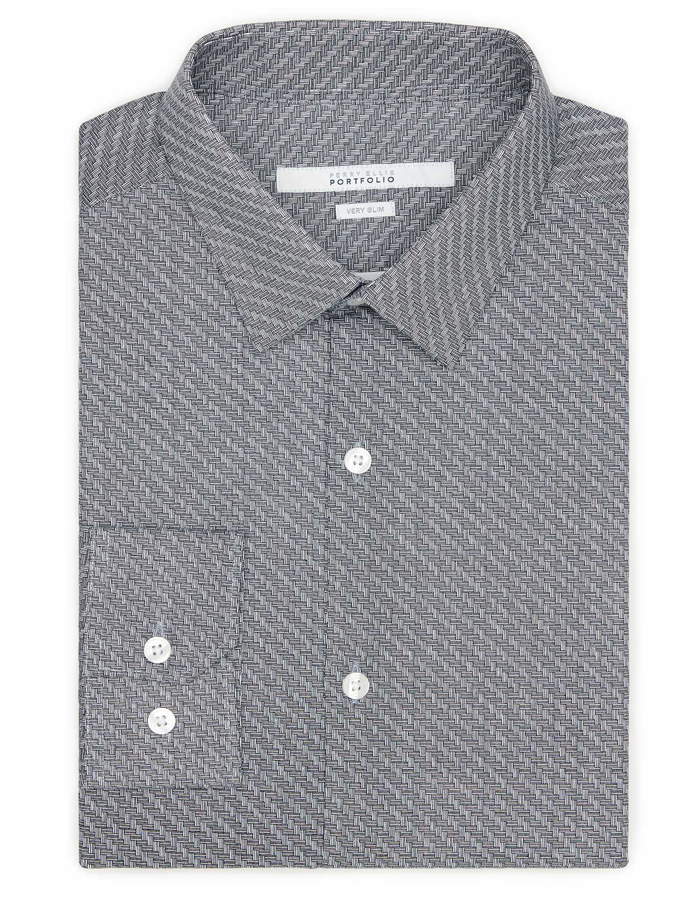 Perry Ellis Very Slim Twill Tile Dress Shirt