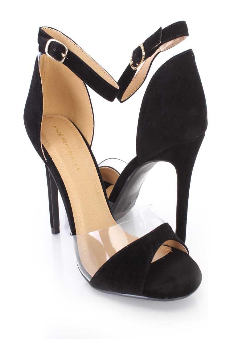 Black Clear Trim Peep Toe Single Sole High Heels Velvet