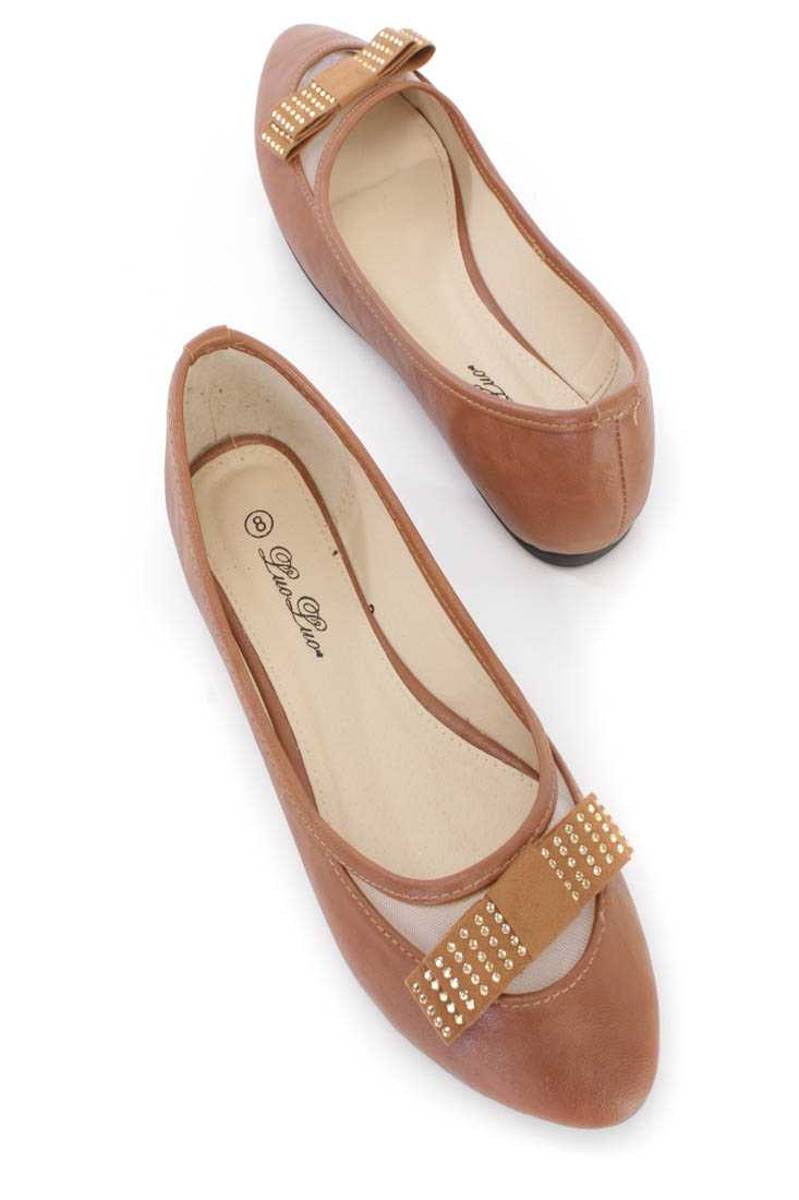 Camel Bow Tie Rhinestone Decor Ballerina Flats Faux Leather