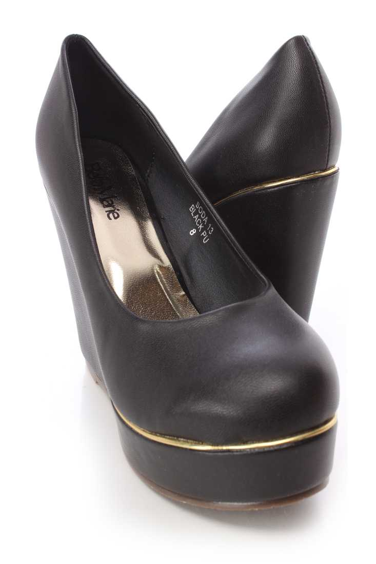 Black High Polished Trim Wedges Faux Leather