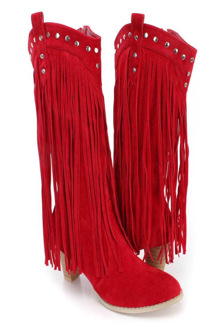Burgundy Studded Long Fringe Western Boots Faux Suede