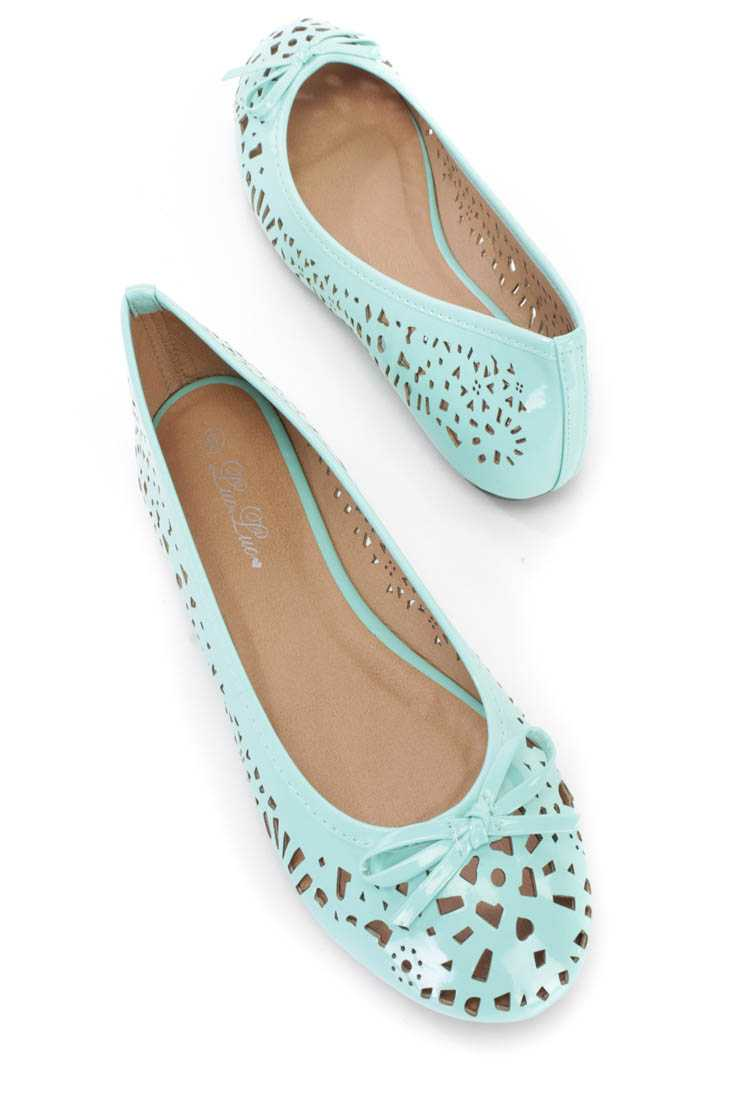 Turquoise Perforated Bow Tie Ballet Flats Patent