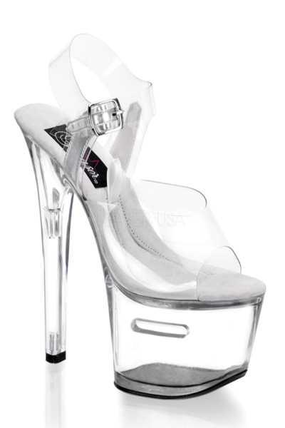 Clear Polyvinyl Tip Jar Slot Ankle Buckle Platform High Heels