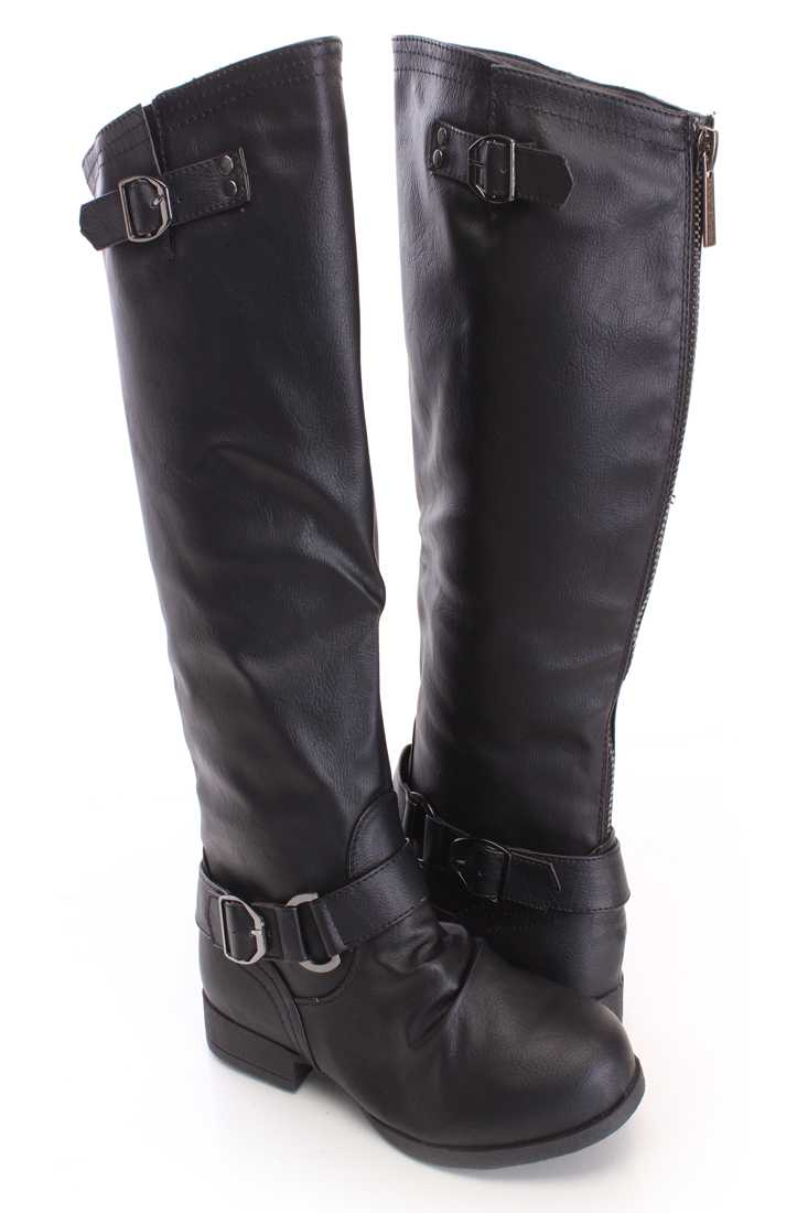 Black Strap Design Casual Boots Faux Leather