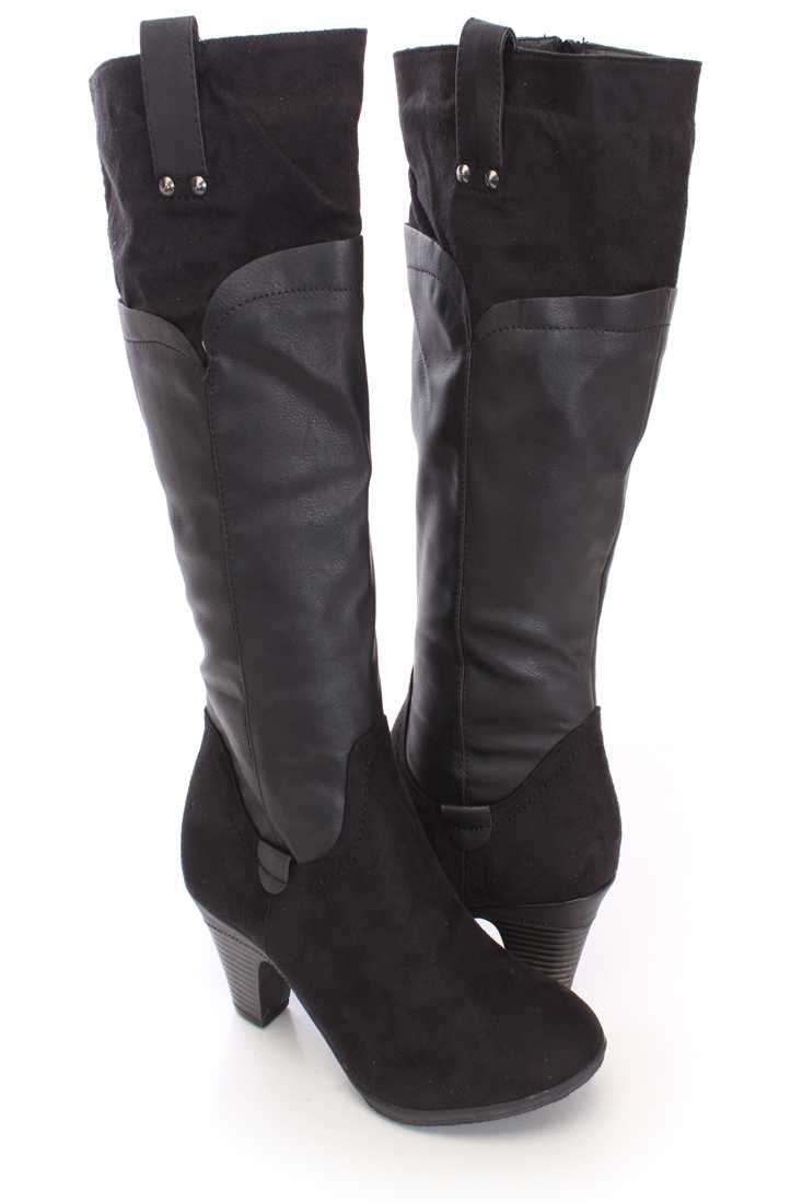 Black Two Tone Knee High Boots Faux Leather