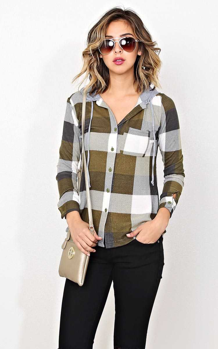 City Chic Basic Plaid Top - MED - Olive Combo in Size Medium by Styles For Less