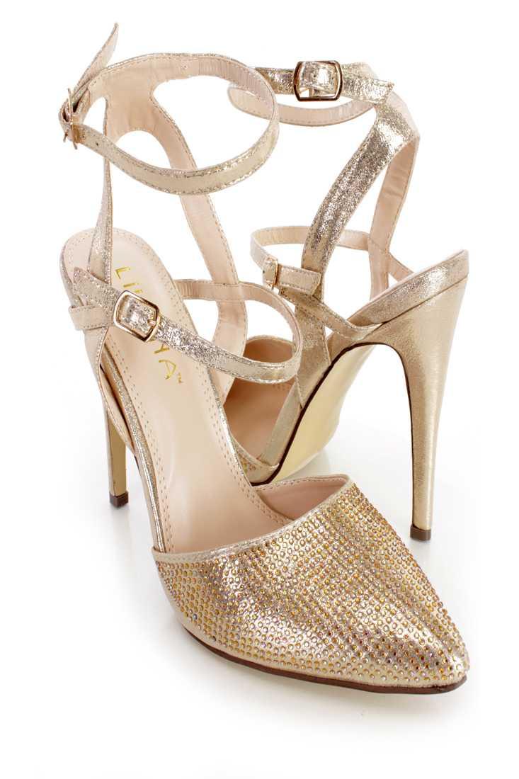 Gold Rhinestone Single Sole High Heels Shimmer Fabric