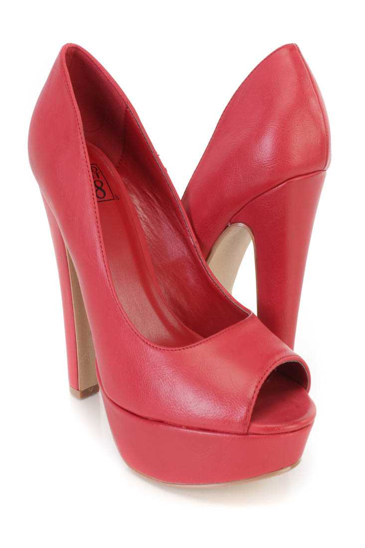 Red Peep Toe Platform Pump Chunky High Heels Faux Leather