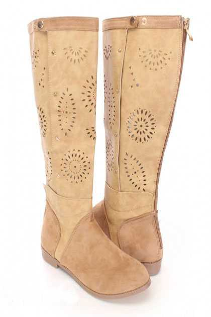 Beige Perforated Mid Calf Boots Faux Leather