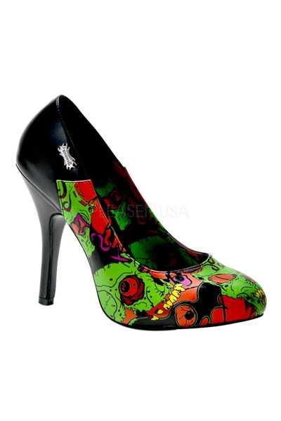 Black Zombie Printed Pump High Heels