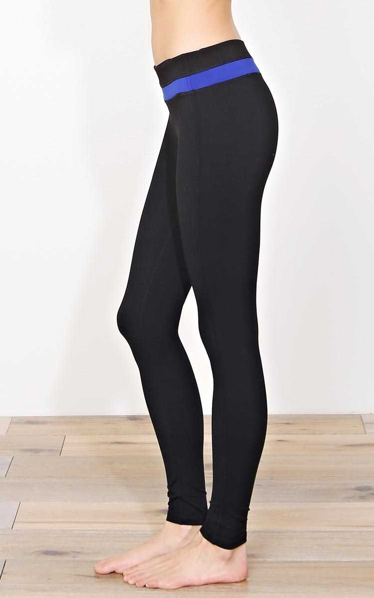Workout Blues Knit Performance Leggings - SML - Black Combo in Size Small by Styles For Less