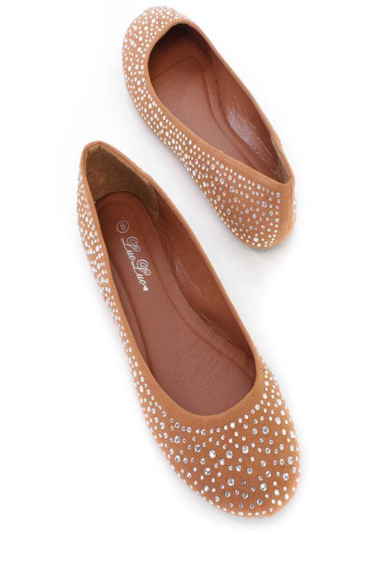 Light Brown Rhinestone Closed Toe Flats Faux Suede