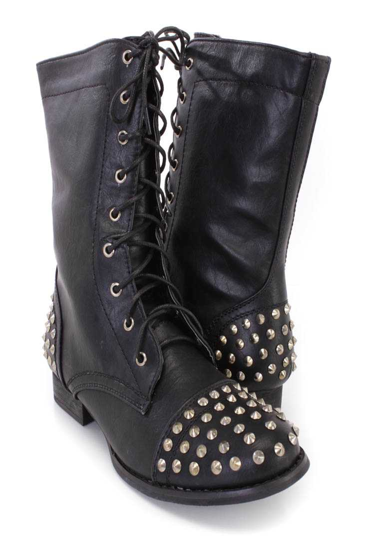 Black Studded Lace Up Combat Boots Faux Leather