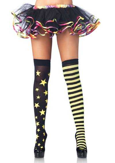 Neon Yellow Stars Stripes Thigh Highs